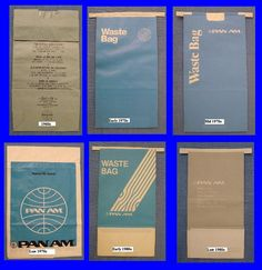Pan Am Air Sick Bags.Where would we have been without PAN AM; part savior, part family member? http://www.amazon.com/With-Love-The-Argentina-Family/dp/1478205458