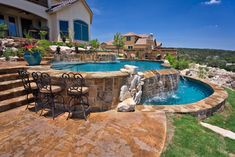 If you are working with the best backyard pool landscaping ideas there are lot of choices. You need to look into your budget for backyard landscaping ideas Sloped Yard, Sloped Backyard, Backyard Pool Landscaping, Backyard Pool Designs, Swimming Pools Backyard, Swimming Pool Designs, Backyard For Kids, Backyard Retreat, Pool Bar