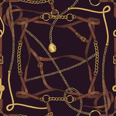 Belts and Gold Chains by Elona laff Seamless Repeat Royalty-Free Stock Pattern Elephant Tapestry, Interior Wallpaper, Baroque Pattern, Versace Fashion, Pattern Library, Scarf Styles, Textiles, Textile Design, Gold Chains