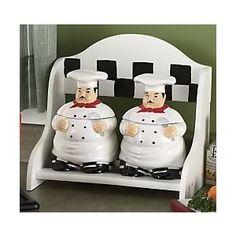 Kitchen Decor Fat Chef 2PCS Jar Canister Set
