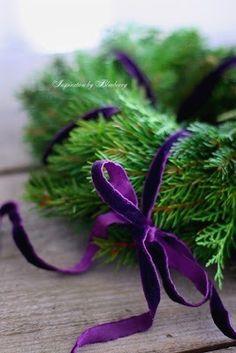 "chasingrainbowsforever: "" Evergreen wreath with purple velvet bow. Purple Christmas Decorations, Christmas Colors, Winter Christmas, Christmas Holidays, Christmas Wreaths, Christmas Crafts, Green Christmas, Peacock Christmas, Advent Wreaths"