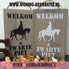 Steigerhouten bord Welkom Sint en Zwarte Piet S520