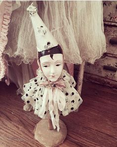 Very rare antique french pierrot hat stand by Heathershabbycottage