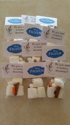 Olaf treat bags I made for my daughter's birthday party. Made the cards in a Word document.
