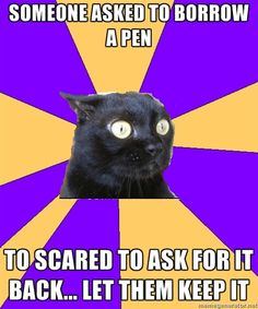 Anxiety Cat: Someone asked to borrow a pen.  Too scared to ask for it back... let them keep it.