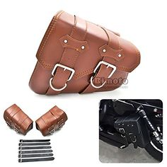 BJ Global Motorcycle PU Leather Side Saddlebag Saddle Bag for Harley Davidson Sportster (Coffee) Leather Saddle Bags, Leather Luggage, Leather Bag, Harley Davidson Sportster, Motorcycle Saddlebags, Biker Gear, Side Bags, Motorcycle Accessories, Autos