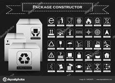 Konstruktor pakiet. Symbole opakowań. Ikona zestaw, w tym odpadów, recyklingu, kruche, łatwo palnych, ta stroną do góry, uchwyt z opieki, suchych i innych. Ilustracja wektorowa — Ilustracja stockowa #138530678