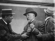 MAYOR SHOT:  New York City Mayor William Gaynor moments after he was shot in the throat during an assassination attempt by a disgruntled city employee on board the SS Kaiser Wilhelm der Grosse docked in Hoboken, New Jersey, 1910.