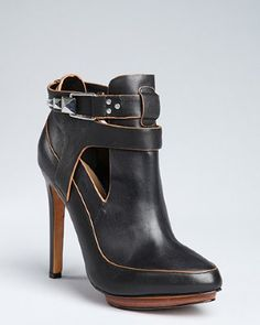 Mark & James by Badgley Mischka - black leather 'Dannie' stud snap buckle ankle booties
