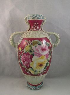 Antique Royal Moriye Nippon Hand Painted Roses Heavy Moriage