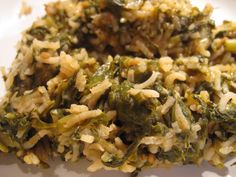 Spanakoritso – Greek Spinach with Rice – GF, Vegan (I would stir the spinach in at the end of cooking just to wilt it, prevent overcooking, and preserve color.)