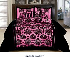 11 Piece King Coffee and Pink Flocked Bed in a Bag Set