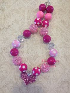Light And Hot Pink with Glitter Heart Pendant Bubblegum Necklace on Etsy, $16.00