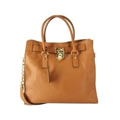 Pre-Owned Michael Kors Large Hamilton Padlock Leather Tote $358... ($290) ❤ liked on Polyvore featuring bags, handbags, tote bags, purses, brown, leather handbag tote, leather satchel, leather tote, michael kors purses and purse tote