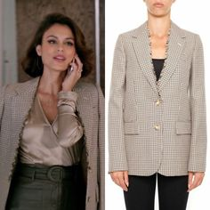 Cristal Flores wore this Stella McCartney houndstooth wool two-button blazer on Dynasty Tv Show Outfits, Work Outfits, Business Professional Outfits, Business Casual, Dynasty Clothing, Nathalie Kelley, Classy Outfits, Casual Outfits, Ulla Johnson