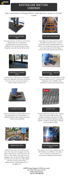 Amco Provides various Matting products like Knelling Mat, Anti Fatigue Mat, Shower Mat, Kitchen Mats & so on