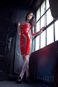 "syrenlatex: ""Currently ON SALE on our mother site Stockroom.com as part of their FETISH WEAR SALE (ends Sept 29). This is that latex wardrobe staple that no closet should be without. Our Latex Newmar Dress (20% OFF!) is a demure, pencil length dress..."