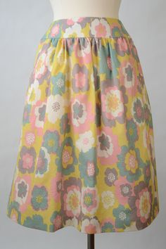 Yellow Floral Aline Skirt with Pockets and Gathers, $40