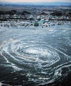 Earthquake in Japan : A whirlpool is seen near Oarai City, Ibaraki Prefecture, northeastern Japan, March 11, 2011.