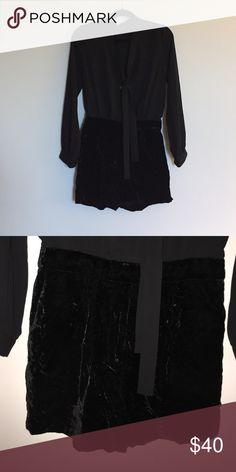 Long sleeve romper Loft black long sleeve romper. Top part is a polyester blend and bottom is black velvet. LOFT Other