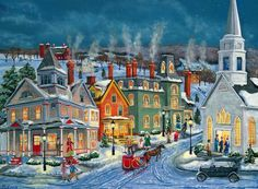 A Christmas Village - Desktop Nexus Wallpapers Christmas Town, Christmas Scenes, Christmas Villages, Winter Christmas, Christmas Bells, Illustration Noel, Christmas Illustration, Vintage Christmas Cards, Retro Christmas