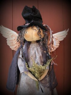 Gold Acrylic Paint, Primitive Doll Patterns, Sweet Annie, Leaf Garland, Harvest Moon, Silk Ribbon, Her Hair, Wool Felt, Doll Clothes