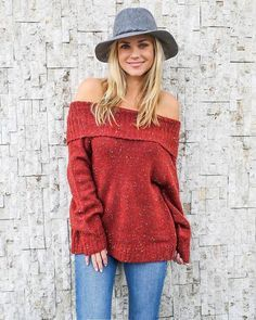 9adf34af557 We can t get enough of the off the shoulder neckline and this sweater is  cute with long sleeves ...