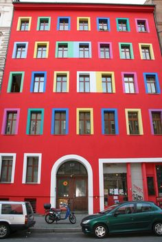 Lots of thought, effort and colour went into this brightly pained apartment block in Kreutzberg, Berlin. Apartment Painting, Effort, Berlin, Multi Story Building, Colour, Architecture, House, Color, Arquitetura