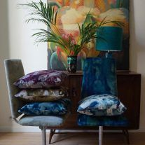 Velvet dining chairs and cushions by Boeme Design in Iris & Halo design