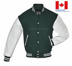 Forest Green Wool Varsity Bomber Jacket With White Real Leather Sleeves Green Wool, Blue Wool, Team Jackets, Letterman Jackets, Varsity Jackets, Off White Varsity Jacket, Leather Sleeves, Leather Jacket, Ivy Style