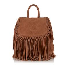 Superdry Premium Suede Neo Nomad Fringed Backpack (3,520 THB) ❤ liked on Polyvore featuring bags, backpacks, brown, suede bag, day pack backpack, suede fringe backpack, superdry backpack and brown fringe bag