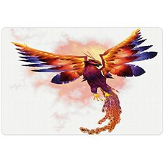 Animal Pet Mats for Food and Water by Lunarable, The Phoenix Firebird with the Large Wings Illustration Mythical Symbol Print, Rectangle Non-Slip Rubber Mat for Dogs and Cats, Orange and Blue *** Click image for more details. (This is an affiliate link) #Dogs