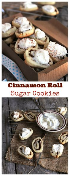 Cinnamon Roll Sugar Cookies with Cream Cheese Frosting - Sugar Cookie Dough, sweet cinnamon filling, and a delicious frosting to pull it all together!