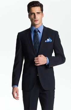 BOSS Black 'Jam/Sharp' Trim Fit Navy Stretch Wool Suit available at #Nordstrom #Nordstromweddings