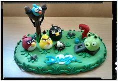 Caketopper in porcellana fredda angry birds