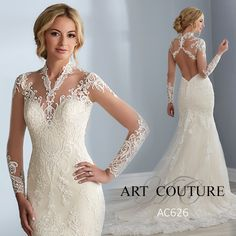 Sophisticated lace applique cascades over this fit-and-flair wedding dress, featuring illusion long sleeves, illusion over sweetheart neckline, illusion back with keyhole cutout, and a low back. Finished with covered buttons and zipper closure.