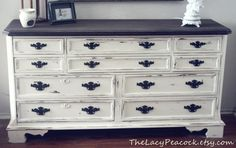 Distressed White and Wood Dresser/Buffet/ Changing Table/ Tv Stand