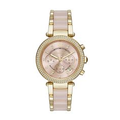 Shop for Michael Kors Women's Parker Chronograph Rose-Tone Gold Dial Two-Tone Bracelet Watch. Get free delivery On EVERYTHING* Overstock - Your Online Watches Store! Mk Watch, Jewelry Roll, Yoga Jewelry, Best Watch Brands, Online Watch Store, Beautiful Watches, Watch Sale, Stainless Steel Bracelet, Michael Kors Watch