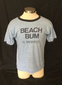 Vintage 1980's Tourist Ringer T-Shirt Surf Beach Tri-Blend RAYON St. Thomas Made in USA by 413productions on Etsy