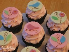 Cakes by Becky: Love Bird Baby Shower Cupcakes
