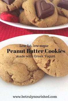 Peanut Butter Cookies made with Greek Yogurt. Low fat, low sugar, deliciously moist and tasty! Low Sugar Desserts, Low Sugar Recipes, No Sugar Foods, Sweet Recipes, Baking Recipes, Cookie Recipes, Dessert Recipes, Keto Desserts, Greek Yogurt And Peanut Butter