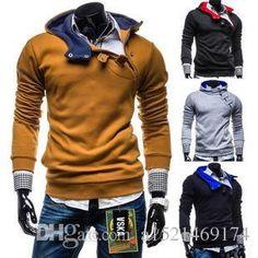 Inclined Zipper Men Casual Sweatshirt Pullover Cotton Blends Long Sleeve Lapel Neck Regular Standard Patchwork Clothing Lfp11 213 From A1521469174, $22.86   Dhgate.Com