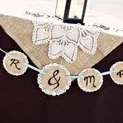 Doily burlap banner with monogram