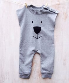 Baby grey romper suit by CoochieCooUK on Etsy