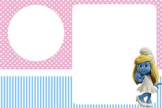 Smurfs: Invitations and Party Free Printables, for Girls Party.