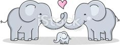 strong cohesive family / cartoon elephant - love Royalty Free Stock Vector Art Illustration