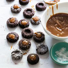 Our Classic Holiday Cookie Collection | Chocolate Thumbprints with Caramel and Sea Salt  | MyRecipes.com