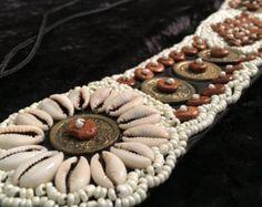 Tribal Belly dance Belt ATS Belt with Purple Tassels by HajnaLuna