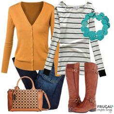 Frugal Fashion Friday Mustard Fall Outfit on Frugal Coupon Living. Purple Fall Outfits, Fall Winter Outfits, Autumn Winter Fashion, Fall Fashion, Fashion Trends, Fashion Ideas, Fashion Outfits, Mustard Cardigan, White Cardigan