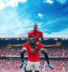 Pogba and Lukaku celebrating 🎉🎁🎉 One Love Manchester United, Manchester United Ronaldo, Manchester United Wallpaper, Manchester United Players, Football Troll, Football Team, Nba, Premier League Champions, Sports Wallpapers
